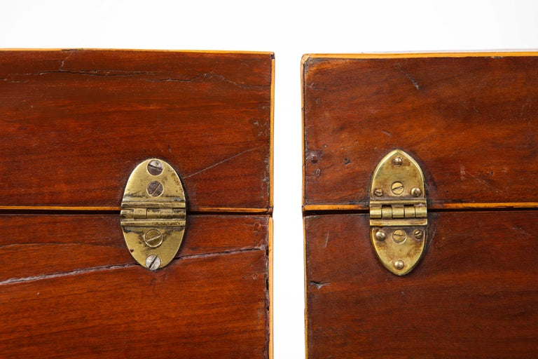 Pair of George III Inlaid Mahogany Cutlery Boxes, Late 18th Century 10