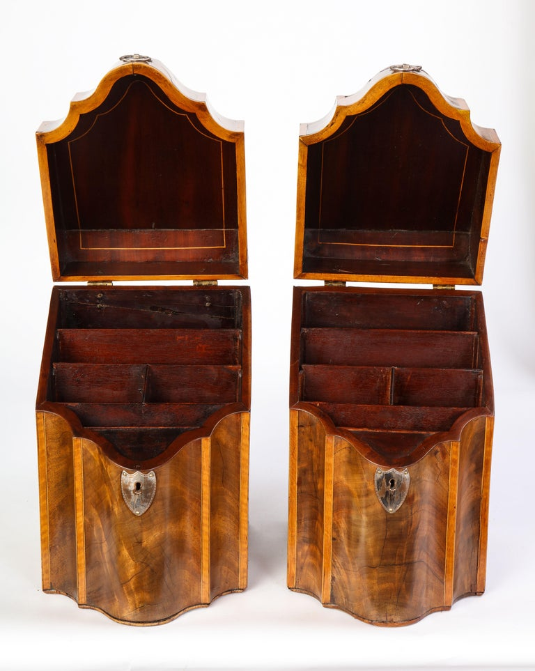 Pair of George III Inlaid Mahogany Cutlery Boxes, Late 18th Century 4