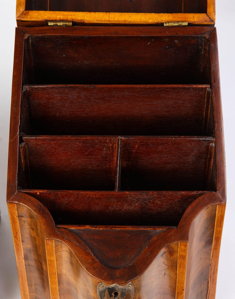 Pair of George III Inlaid Mahogany Cutlery Boxes, Late 18th Century 6