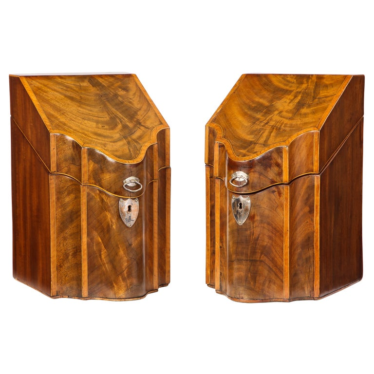 Pair of George III Inlaid Mahogany Cutlery Boxes, Late 18th Century