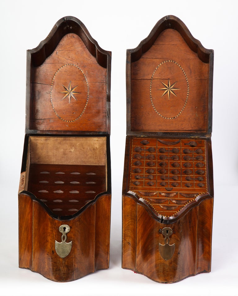 Pair of George III Inlaid Satinwood Cutlery Boxes, Late 18th Century For Sale 8