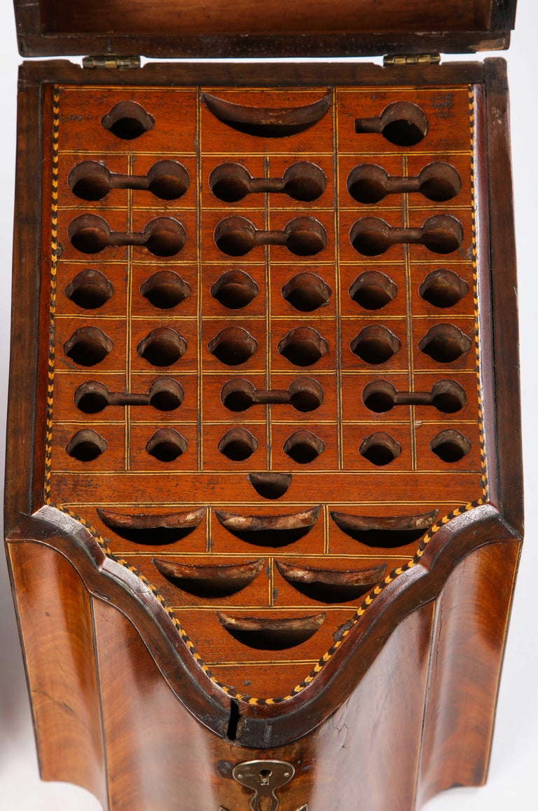 Pair of George III Inlaid Satinwood Cutlery Boxes, Late 18th Century For Sale 9