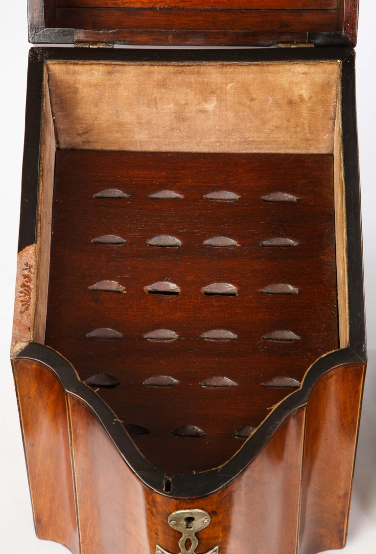 Pair of George III Inlaid Satinwood Cutlery Boxes, Late 18th Century For Sale 11