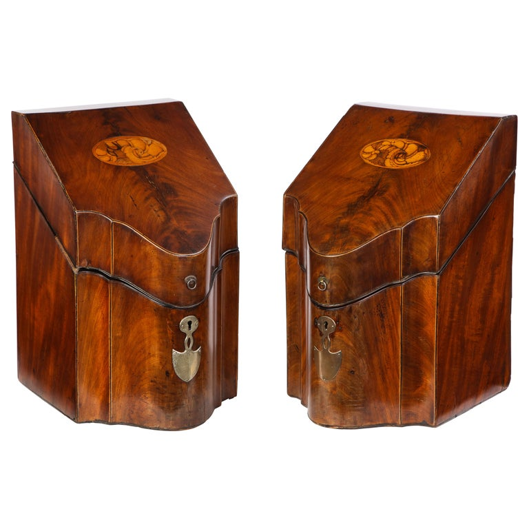 Pair of George III Inlaid Satinwood Cutlery Boxes, Late 18th Century For Sale