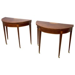 Pair of George III Mahogany and Boxwood and Satinwood Demilune Card Tables