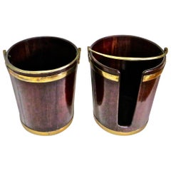 Pair of George III Mahogany Brass-Bound Buckets; 1 Peat and 1 Plate, English