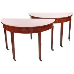 Pair of George III Mahogany Demilune Console Tables