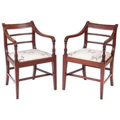 Pair of George III Mahogany Elbow / Desk Chairs