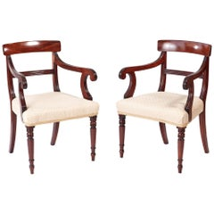 Pair of George III Mahogany Elbow or Desk Chairs