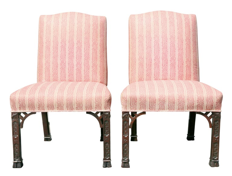 English Pair of George III Mahogany Side Chairs For Sale