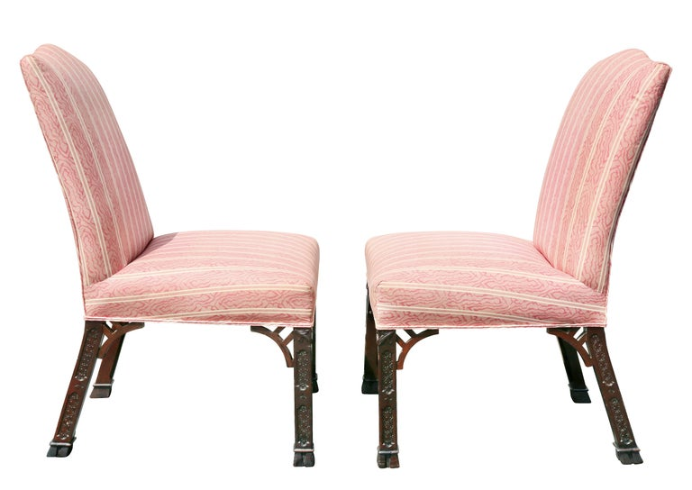 Pair of George III Mahogany Side Chairs For Sale 1