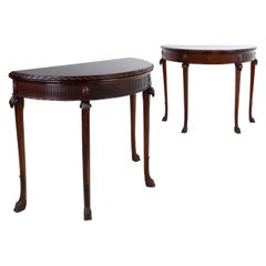 Pair of George III Neoclassical Style Mahogany Demi-Lune Card Tables, circa 1900