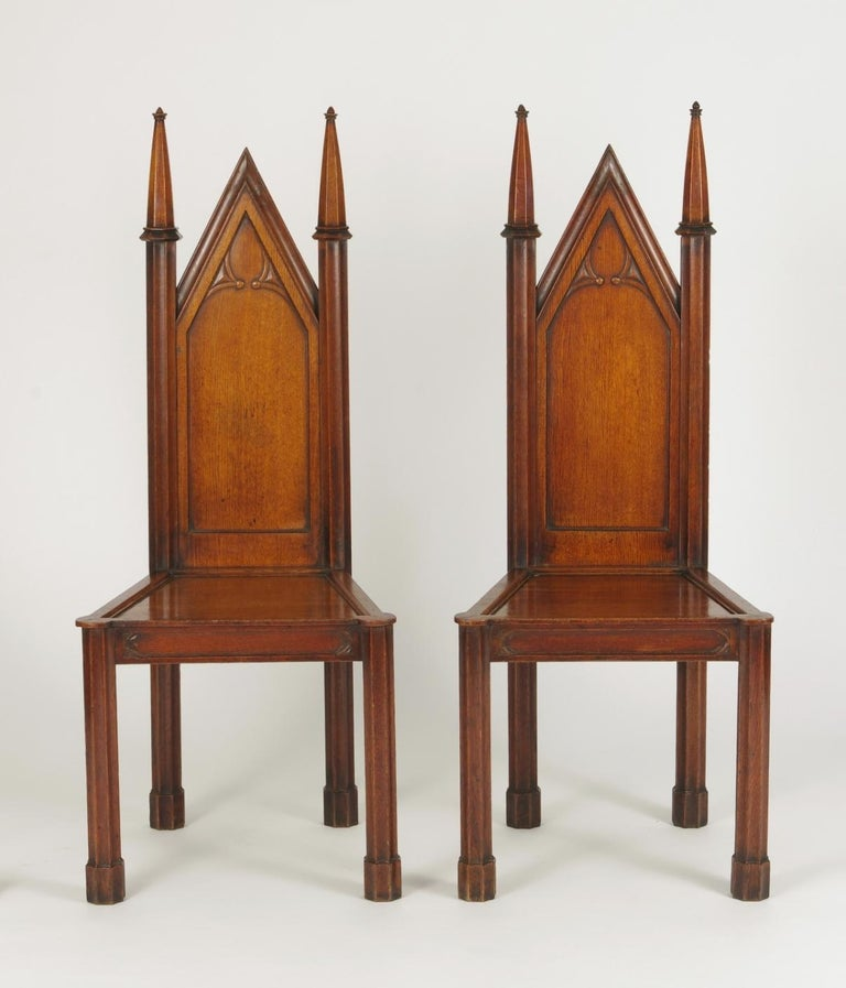Pair of George III Oak Gothic Hall Chairs, circa 1800 For Sale 4