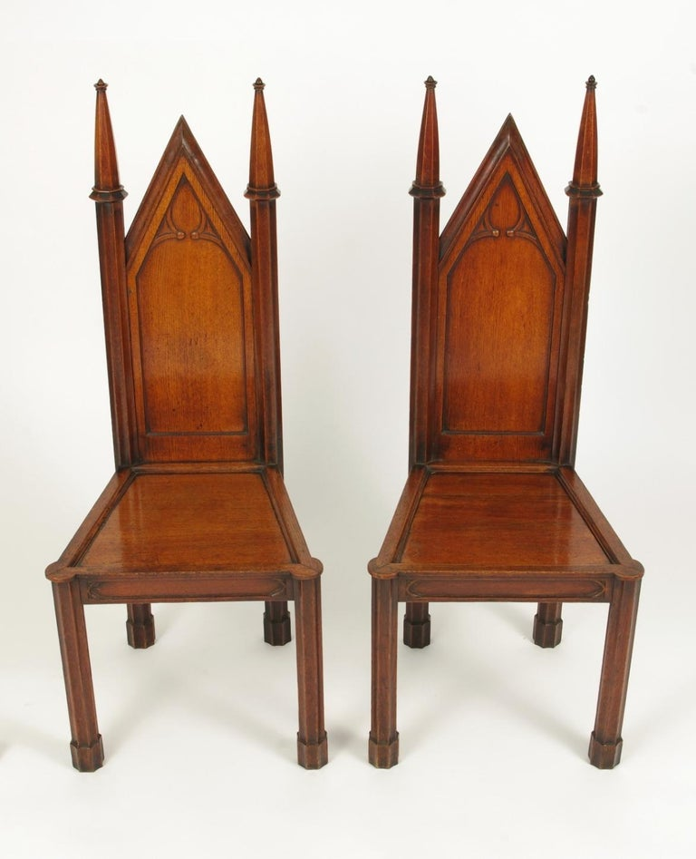 Gothic Revival Pair of George III Oak Gothic Hall Chairs, circa 1800 For Sale