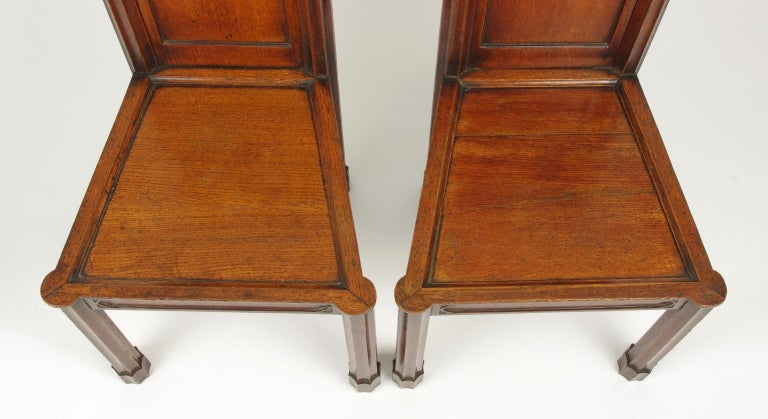 19th Century Pair of George III Oak Gothic Hall Chairs, circa 1800 For Sale