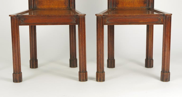 Pair of George III Oak Gothic Hall Chairs, circa 1800 For Sale 1