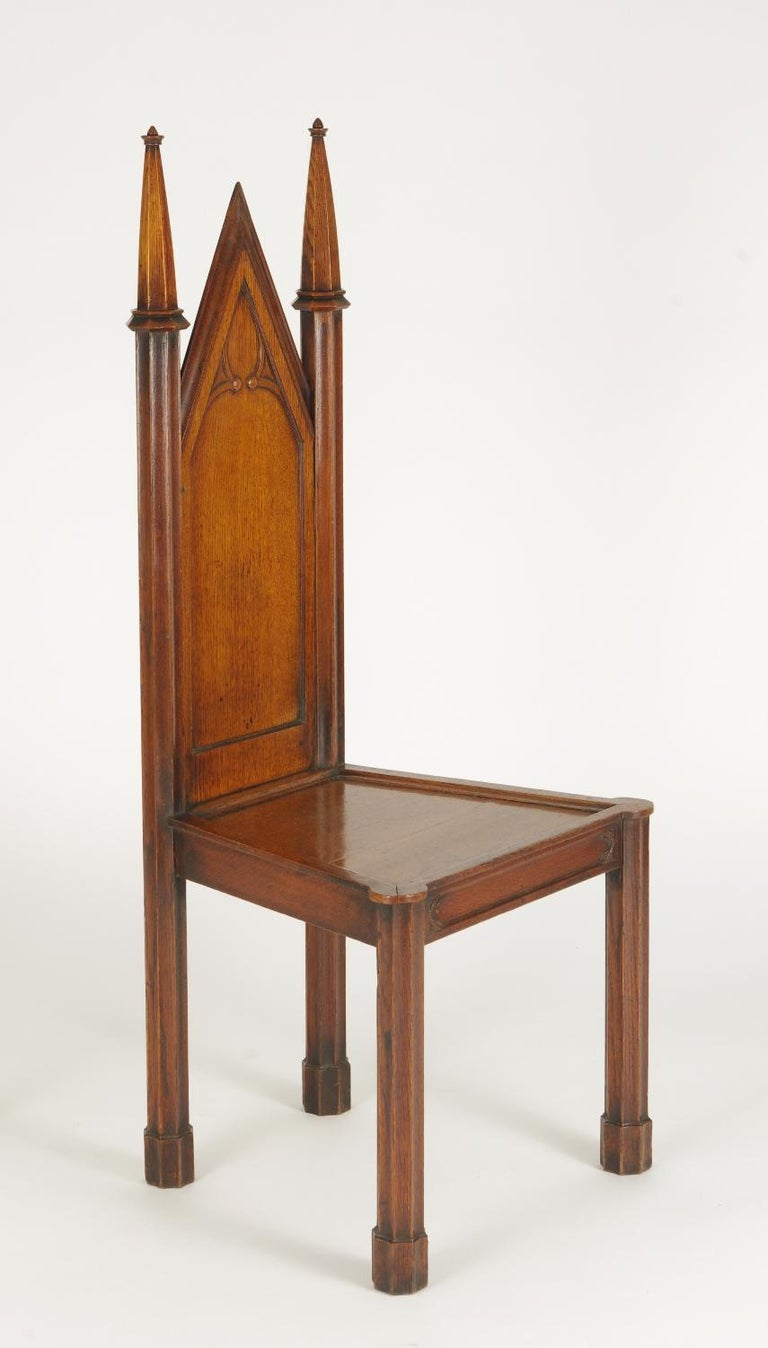 Pair of George III Oak Gothic Hall Chairs, circa 1800 For Sale 2