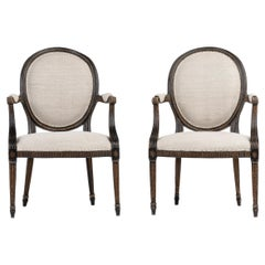 Pair of George III Painted and Gilt Armchairs