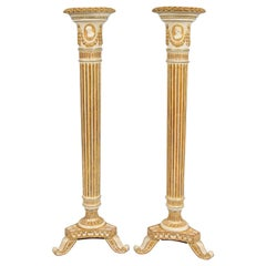 Pair of George III Painted and Giltwood Pedestals