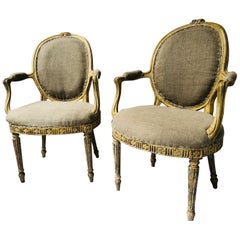 Pair of George III Parcel-Gilt Armchairs in the Manner of John Linnell