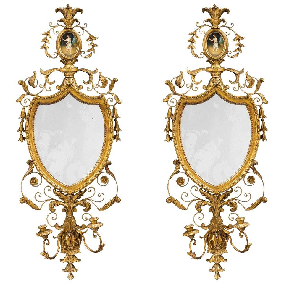 Pair of George III Period Gesso and Giltwood Mirrors