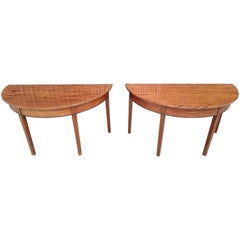 Pair of George III Period Mahogany Console Tables / D-end Tables