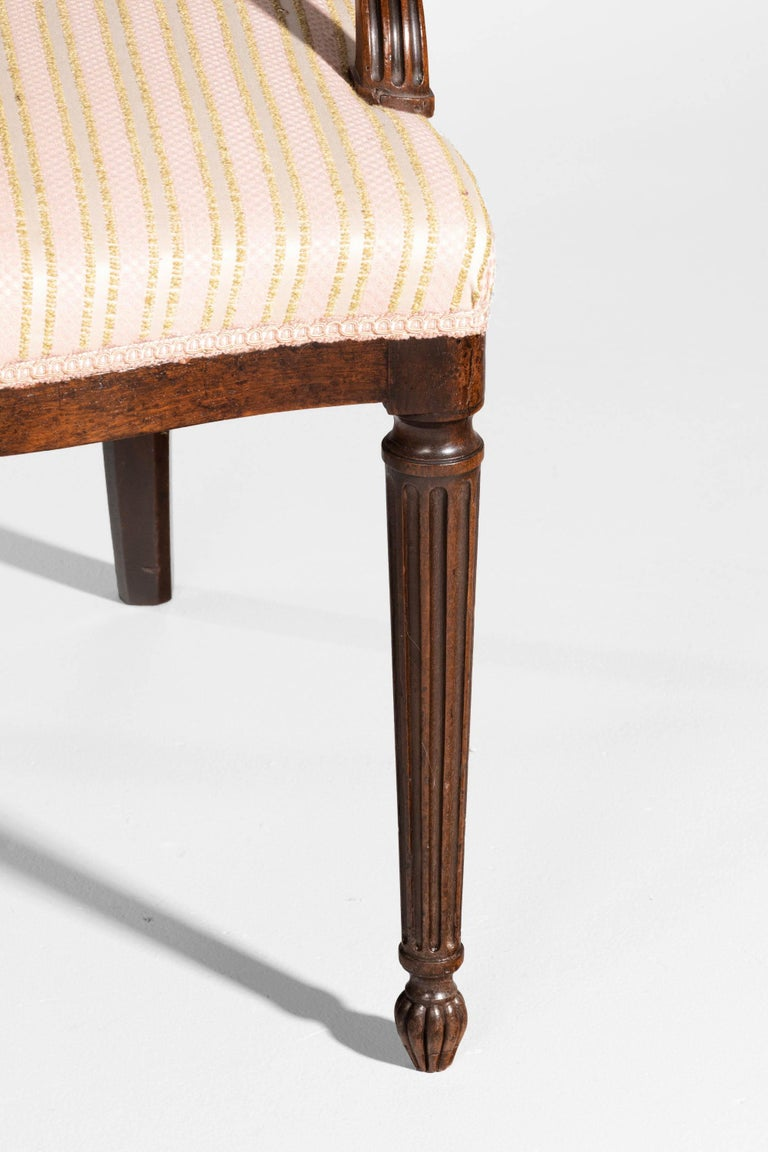 English Pair of George III Period Mahogany Elbow Chairs by Robert Manwaring For Sale