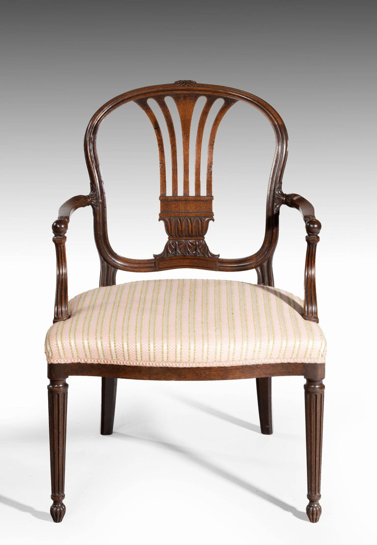 Pair of George III Period Mahogany Elbow Chairs by Robert Manwaring In Excellent Condition For Sale In Peterborough, Northamptonshire