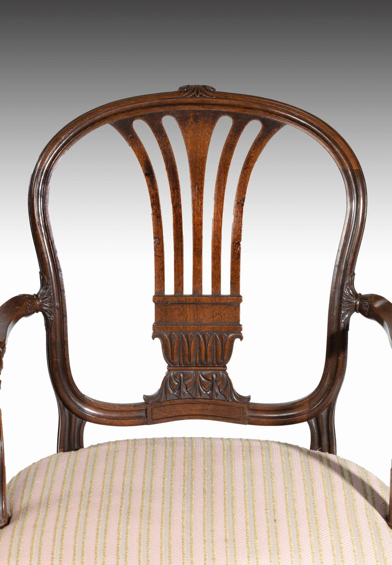 18th Century Pair of George III Period Mahogany Elbow Chairs by Robert Manwaring For Sale