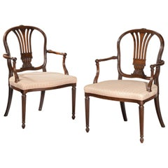 Pair of George III Period Mahogany Elbow Chairs by Robert Manwaring