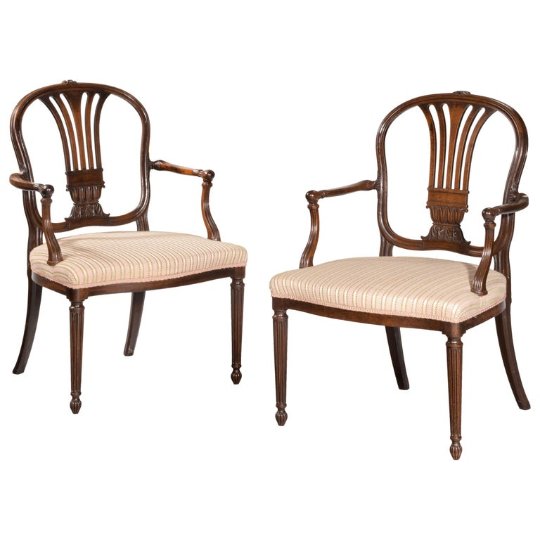 Pair of George III Period Mahogany Elbow Chairs by Robert Manwaring For Sale