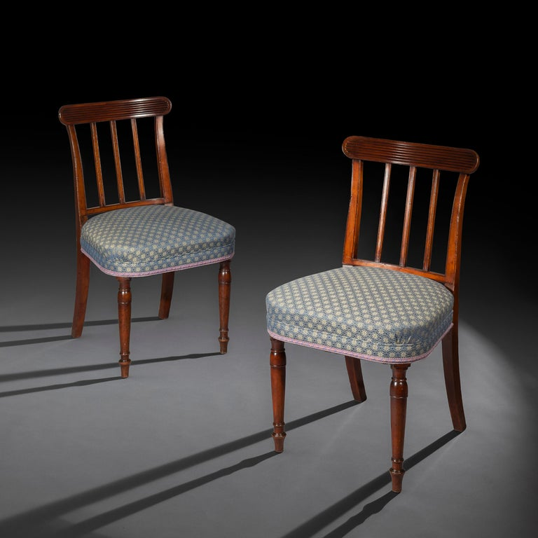 A very Fine and elegant pair of mahogany side chairs of late George III - early Regency period,