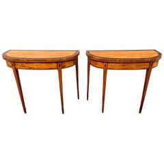 Pair of George III Satinwood and Rosewood Banded Games Tables