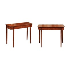 Pair of George III Satinwood Inlaid Console Tables, Early 19th Century