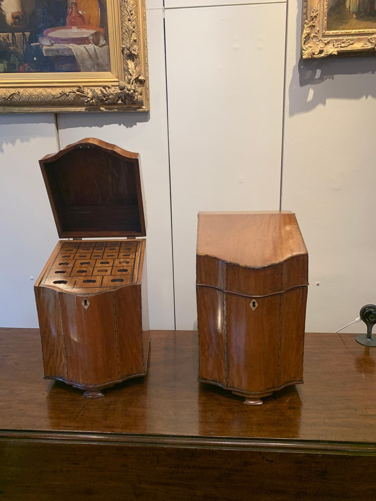 Late 18th Century Pair of George III Satinwood Knife Boxes, with Boxwood Stringing