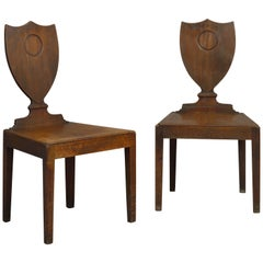 Pair of George III Shield Back Hall Chairs
