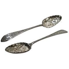 Pair of George III Silver Berry Spoons, Edinburgh, 1792