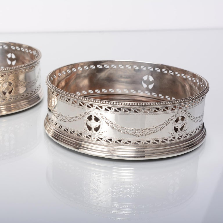 English Pair of George III Silver Wine Coasters For Sale