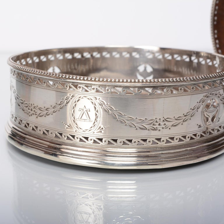 Late 18th Century Pair of George III Silver Wine Coasters For Sale