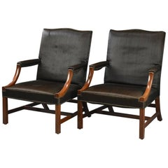 Pair of George III Style Armchairs Upholstered in Horsehair