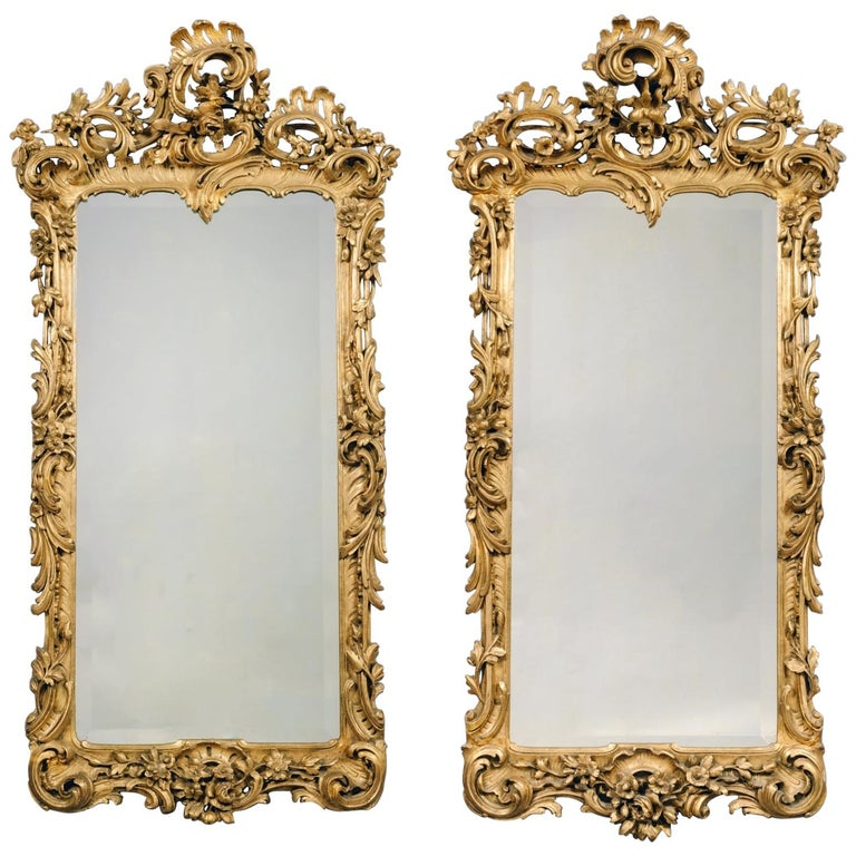Pair of George III Style Carved Giltwood Mirrors For Sale
