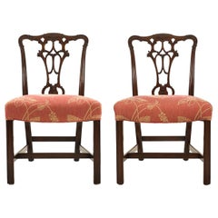 Pair of George III Style Carved Mahogany Dining Chairs, Early 20th Century