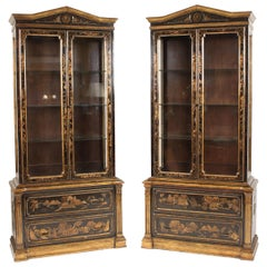 Pair of George III Style Chinoiserie Decorated Display Cabinets