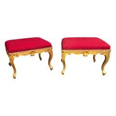 Pair of George III Style Gilt Stools