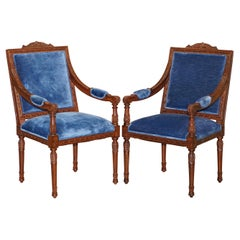 Pair of George III Style Hand Carved Mahogany Blue Velvet Upholstery Armchairs