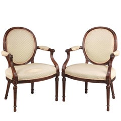 Pair of George III Style Hepplewhite Elbow Chairs with Reeded Incised Decoration