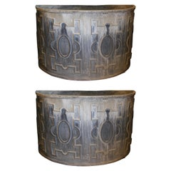 Pair of George III Style Lead Demilune Cisterns