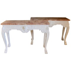 Pair of George III Style Marble-Top Console Tables