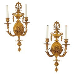 Pair of George III Style Ormolu Wall Light Sconces by E.F. Caldwell