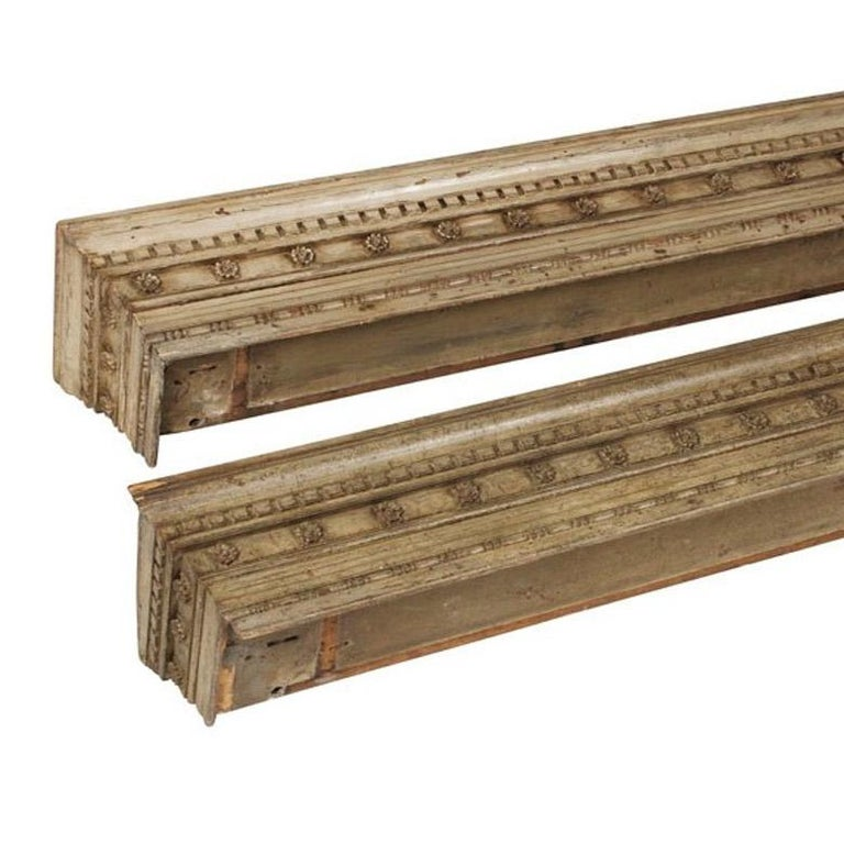 English Pair of George IV Carved and Painted Pine Pelmets For Sale